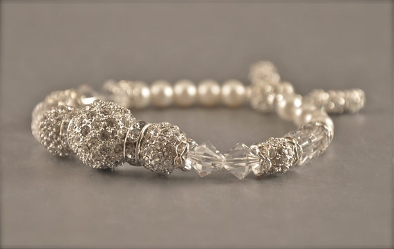 Bridal Jewelry Bracelet Wedding-- ISABELLA Rhinestone Clustered Swarovski Crystal & Pearl Bracelet from Camilla Christine