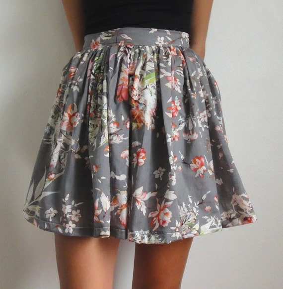 cotton high waisted floral skirt