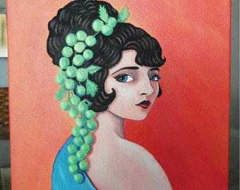 Paulene, an original painting of a vintage silent film actress