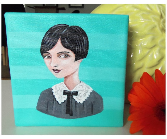 Lillian, an original painting of a vintage woman on a turquoise striped background.