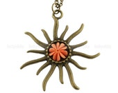 Vintage sun charm necklace-Resin flower necklace