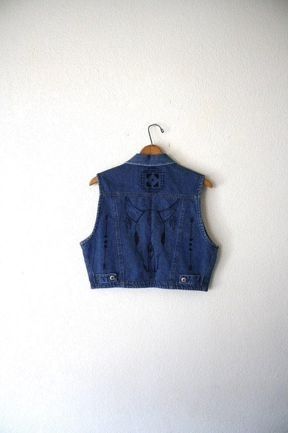 Denim Vest With Hand Drawn Southwestern Style Designs.