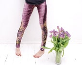 Purple leggings with wild cat skin and fancy animal print
