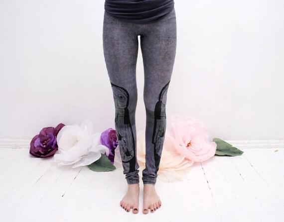 Pale blue grey symmetry- leggings