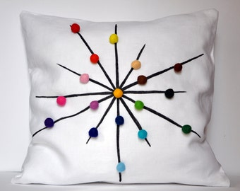 tuliManna White Linen Pillow Cover With Colour Wheel Felt Balls 16x16 Inch Pen Hand Drawing White Black Brown Green Blue Violet Pink Red