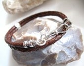 Beautiful braided brown leather and silver bracelet