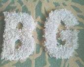 Fun Fluffy Bridal White Wedding Chair Letters - Initials or Monogram Decor - Ties with Ribbon in Back, 1 Letter