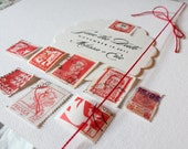 Red Postage Stamps from Around the World: Vintage International - Red Set II - Qty 9