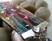 Missoni Fabric Bracelet with Silver Chain & Colored Crystals on Leather Band.