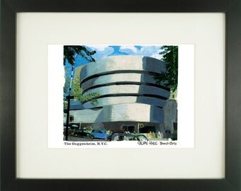 The Guggenheim, New York City, With Frame of Choice, Matted, and Signed Art Print