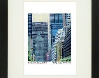 MetLife Building 1, New York City, With Frame of Choice, Matted, and Signed Art Print