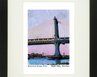 Manhattan Bridge 2, New York City, With Frame of Choice, Matted, and Signed Art Print