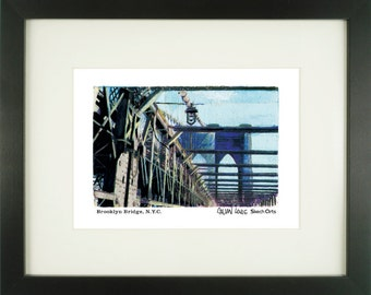 Brooklyn Bridge 2, New York City, With Frame of Choice, Matted, and Signed Art Print