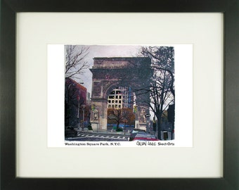 Washington Square Park, New York City, With Frame of Choice, Matted, and Signed Art Print