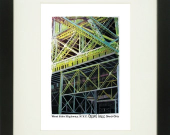 West Side Highway 3, New York City, With Frame of Choice, Matted, and Signed Art Print