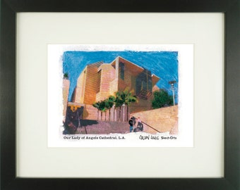 Cathedral of Our Lady of Angels 1, Los Angeles, With Frame of Choice, Matted, and Signed Art Print