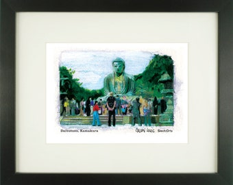 Daibutsu, Kamakura, Japan, With Frame of Choice, Matted, and Signed Art Print
