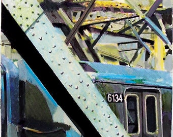 MTA Train, New York City, Signed Art Print