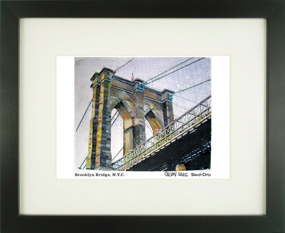 Brooklyn Bridge 1, New York City, With Frame of Choice, Matted, and Signed Art Print