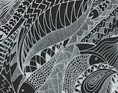 Fish Print - Contemporary White on Black - 9x12