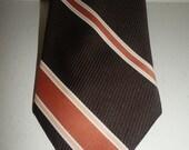 1960s 1970s mens brown stripe necktie by Lilly Dache
