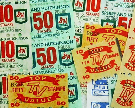 Supermarket Trading Stamps - 50 Vintage Green Stamps from Sperry & Hutchinson, Top Value + More, Collage Ephemera Pack