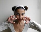 Crochet PATTERN, women headband, earwarmer, costume teddy bear ears, Halloween, DIY photo tutorial