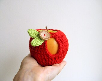Crochet PATTERN, Apple cozy, lunch bag, teacher's gift, DIY photo tutorial ,  Instant download