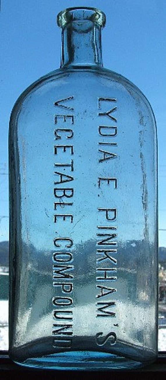 Antique quack medicine bottle LYDIA E PINKHAM'S VEGETABLE Compound for Female Complaints, from the 1800's.