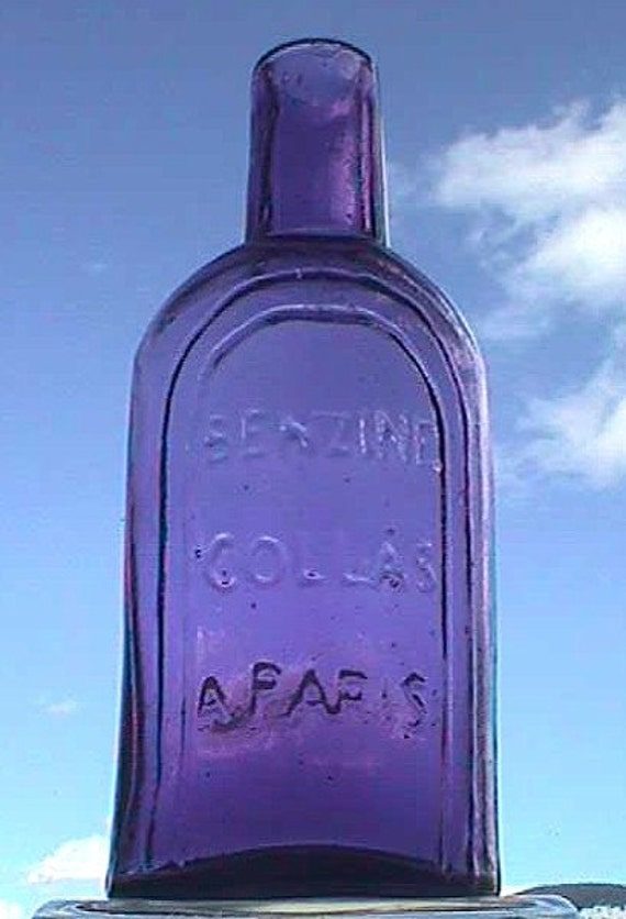 Beautiful Antique FRENCH PERFUME bottle, Benzine Collas PARIS - 100 years old - Beautiful Amethyst