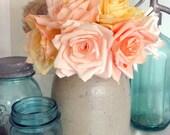 One Dozen Paper Roses, Choice of Color, Paper Bouquet