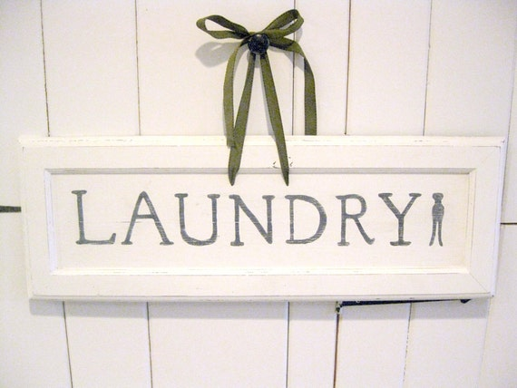 Farmhouse Laundry Room Sign, Handpainted White Wood, Distressed