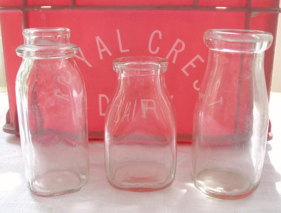 Trio of Half Pint Milk Bottles, Collection of 3, All Different