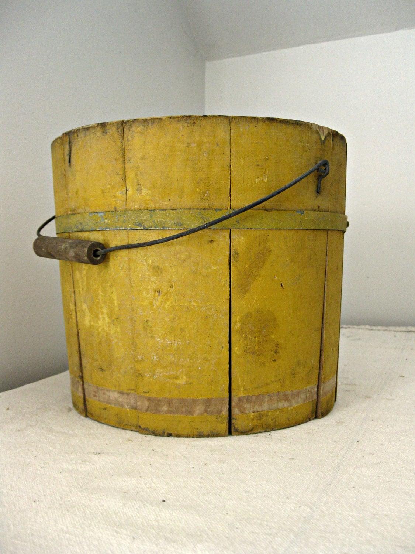 Antique Yellow Bucket With Handle Wooden Bucket With Original
