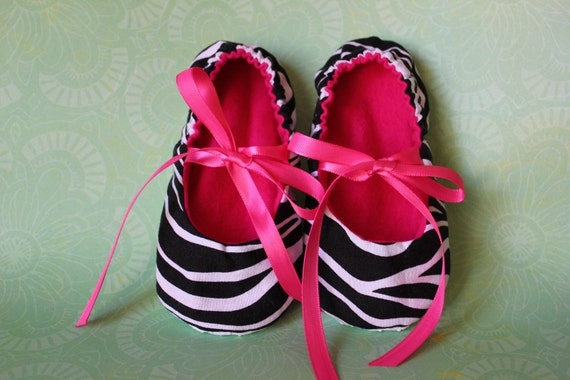 Zebra slippers with ribbon ties