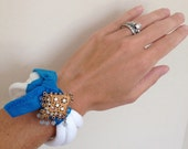 Reserved for Katie Garza:White recycled/upcycled t shirt/jersey bracelet with a blue band and gold filigree/white/blue bead brooch/jewelry