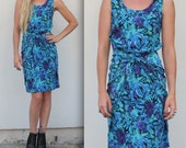80s tropical floral WRAP dress SMALL