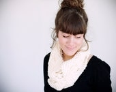 SALE, knitted white acrylic circle scarf