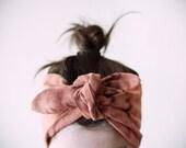 cotton gauze fabric, dyed black & pinky-rust headband