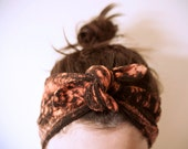 RESERVED cotton gauze fabric, dyed black & rust headband, adjustable
