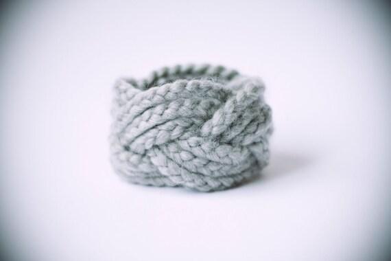 light grey wool & acrylic turk head knot bracelet