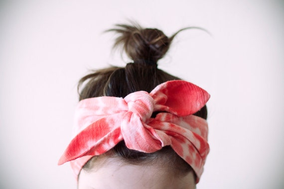 LAST ONE indian cotton fabric, dyed light pink & coral red headband