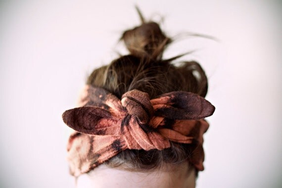 cotton gauze fabric, dyed black & pinky-rust headband