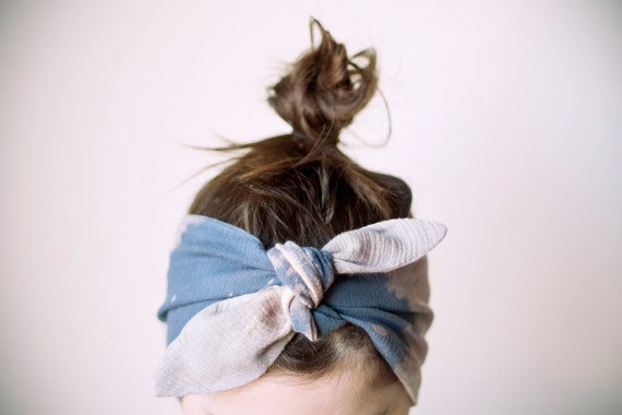 indian cotton fabric, dyed, blue & grey headband