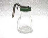 SaLe.....Vintage R E T R O Diner Style Glass Syrup Dispenser with Green Lid