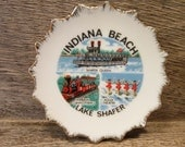 "Sweet 4"" Gold Rimmed Travel Souvenir Plate from Indiana Beach Lake Shaffer Indiana Made in Japan"