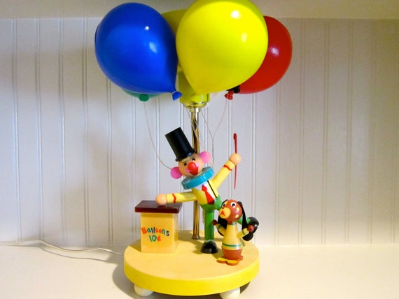 Reserved for Debbie...Vintage DOLLY TOY COMPANY Childrens Nursery Lamp and Nightlight with Clown Balloons and Dog