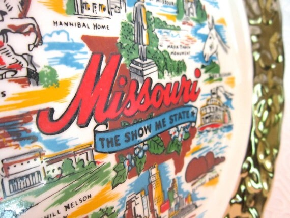 Vintage State of Missouri Collectible Porcelain Travel Souvenir Plate Made in USA