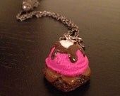 Miniature Sweets -FREE SHIPPING- Pink Ice Cream Brownie Necklace - Strawberry Polymer Clay