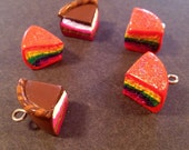 Kawaii Polymer Clay Charms -FREE SHIPPING- Rainbow Glitter Cake and Chocolate Cake -Yummy Fashion